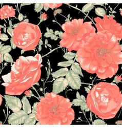 Vintage seamless romantic roses background vector