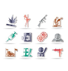 Mafia and organized criminality activity icons vector
