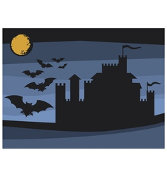 Bats flying in the moonlight and old castle vector