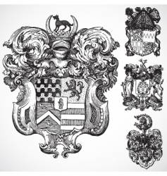 Gothic coat of arms ornaments vector