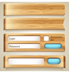 Set of wood elements for design vector