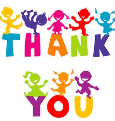 Thank you concept with happy children vector