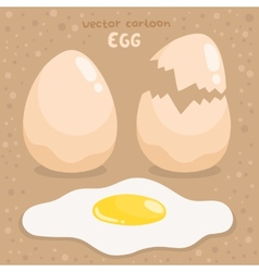 Cartoon broken and fried egg vector