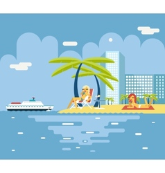 Gigls sunny beach planning summer vacation tourism vector