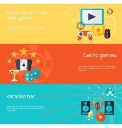 Entertainment flat banner set vector