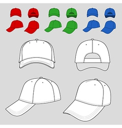 Baseball tennis cap outlined colored template vector