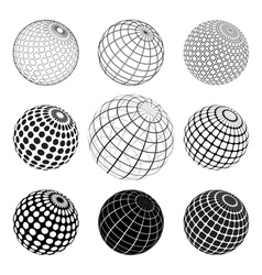 Set of black and white vektor globe vector