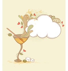 Hand drawn retro martini glass and olives vector