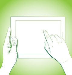 Hand touching 10 inch tablet vector