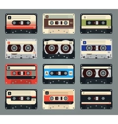 Set of retro audio cassettes vector