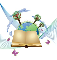 Book and planet vector