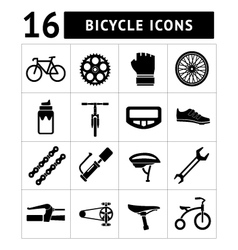 Set icons of bicycle biking bike parts vector