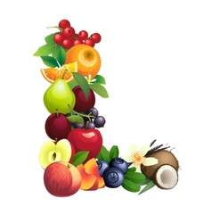 Letter l composed of different fruits with leaves vector