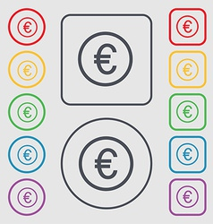 Euro icon sign symbol on the round and square vector