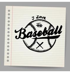 Doodle baseball design element vector