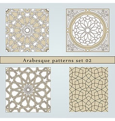 Set of four arabesque seamless pattern vector