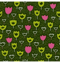 Seamless pattern with tulips and grass backdrop vector