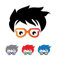 Geek head logo vector