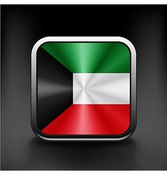Kuwait flag button kuwait icon button vector