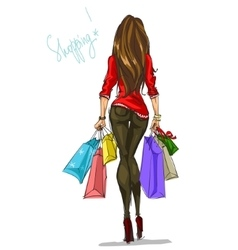 Pretty fashionable woman with shopping bags vector