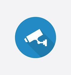 Security camera flat blue simple icon with long vector