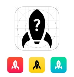 Rocket with question icon on white background vector