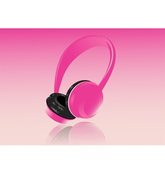 Pink headphones vector