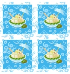 Seamless ice cream and floral pattern vector