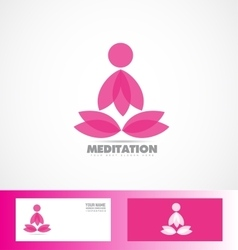 Meditation lotus flower logo yoga icon vector