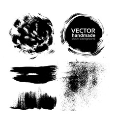 Handmade brush strokes set painted by ink vector