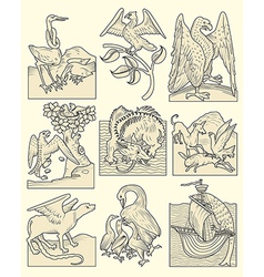Animals and medieval scenes vector