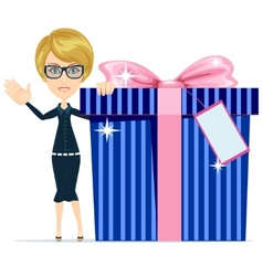 Girl with a great gift vector