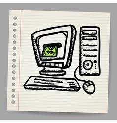 Doodle computer with money inside screen vector
