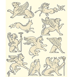 Set of animals and medieval scenes vector
