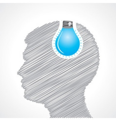 Hand drawn man s face with bulb in his head vector