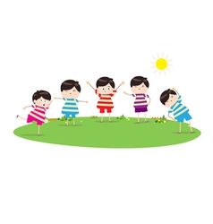 Little children doing morning exercises vector