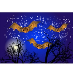 Bats in night sky vector
