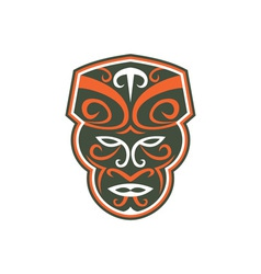 Maori mask face front retro vector