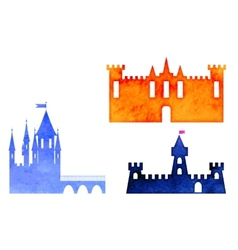 Set of watercolor castle vector
