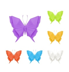 Origami butterflies set vector