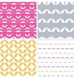 Four bstract leaf shapes geometric patterns vector