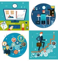 Success stair gears online business statistics vector