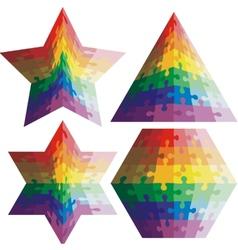 Jigsaw puzzle set geometric shapes colors vector