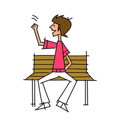 Close-up of boy sitting on bench vector
