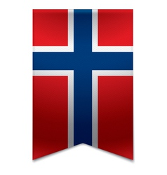 Ribbon banner - norwegian flag vector