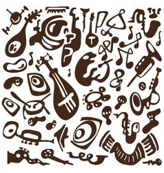 Jazz instruments doodles vector