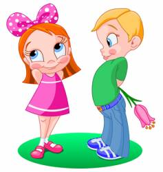 Girl and boy with flower vector