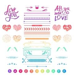 Set of romantic elements for a wedding invitation vector