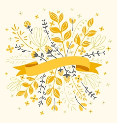 Florals and ribbon vector