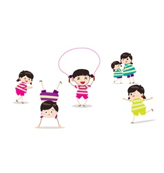 Little children doing skipping against white vector